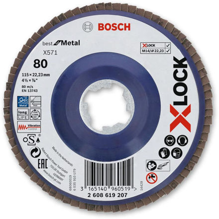 Picture of Bosch X-Lock Grinder Flap Disc 115mm - 80g 2608619207